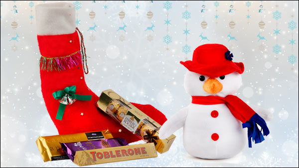 Christmas Stocking, Soft-toy Snowman, Cadbury Temptation, Cabury Silk, Ferrero Rocher, Toblerone
