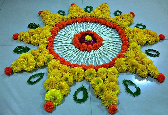 Rangoli with Marigold Flowers