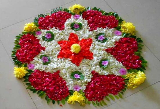 Beautiful Rangoli with Flowers and Petals