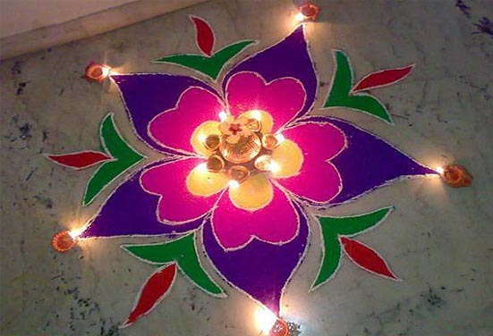 Diwali Rangoli Design with Colours and Diyas