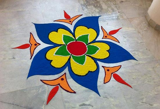 Diwali Rangoli designed with colours