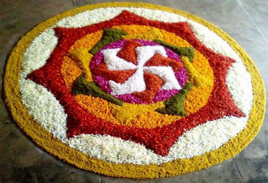Beautiful Rangoli with Colours and Petals