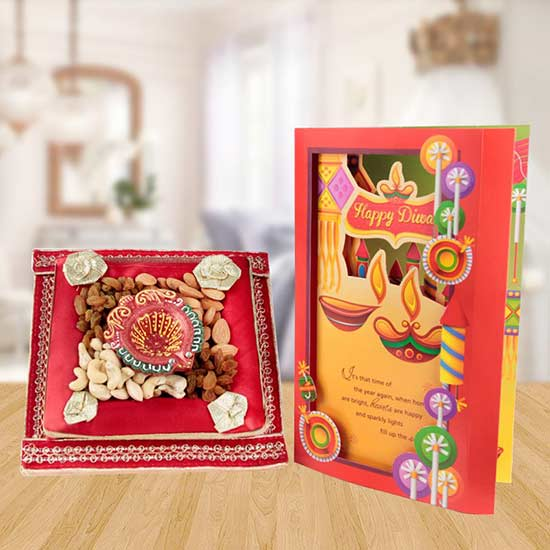 Auspiciousness - Dry Fruit Tray, Diya, Greeting Card