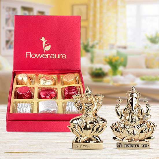 The Auspicious Pair - Laxmi And Ganesh, Handmade Chocolates