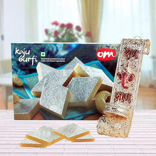 Diwali Illuminations - A Wall-Hanging Candle Stand, Kaju Katli Box