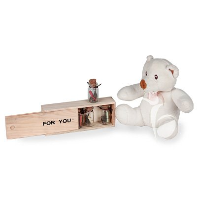 Letter-Scroll Box as a LDR Valentine Gift that includes a set of glass bottles with love scrolls