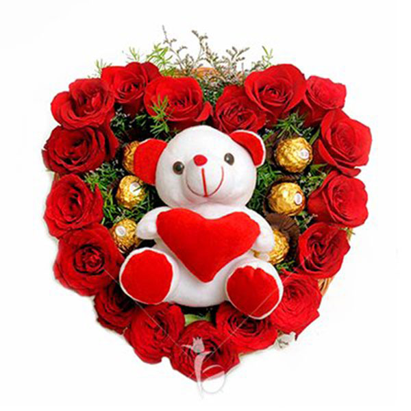 Karwa Chauth Gift - Heart shaped flower bouquet with teddy and ferrero rocher