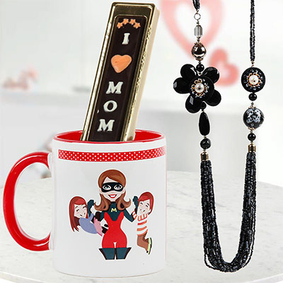 SuperMom Hamper - A Mother's Day Gift that includes a coffee mug, a black necklace & handmade chocolates