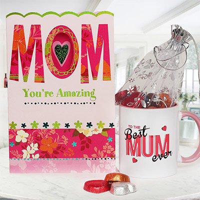 Amazing Mother - Combo of a greeting card & coffee mug as Mother's Day gift