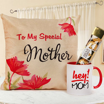Mom-licious Love - Combo of printed cushion, coffee mug & ferrero rocher as Mother's Day gift