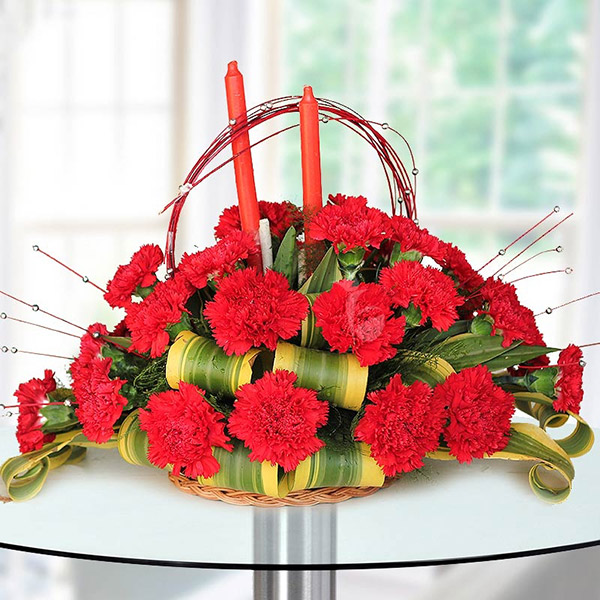 Love Basket - A basket of carnations represent beauty and purity in love
