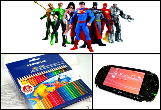 Action Figures, video game, crayon set - Rakhi gift for kid brother