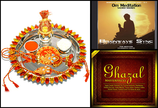 Rakhi Thali, Meditation CD, Ghazals - Rakhi Gifts for Traditional Brother