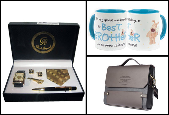 tie, mug, laptop bag - Rakhi Gifts for Working Brother