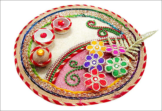 Bronze Rakhi pooja thali decoration