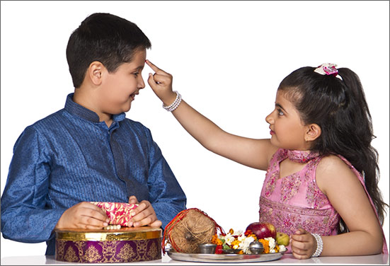 Sister with decorated Rakhi thal and her brother celebrating Rakhi
