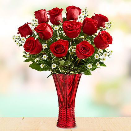 Red rose flowers and sentiments behind gifting them