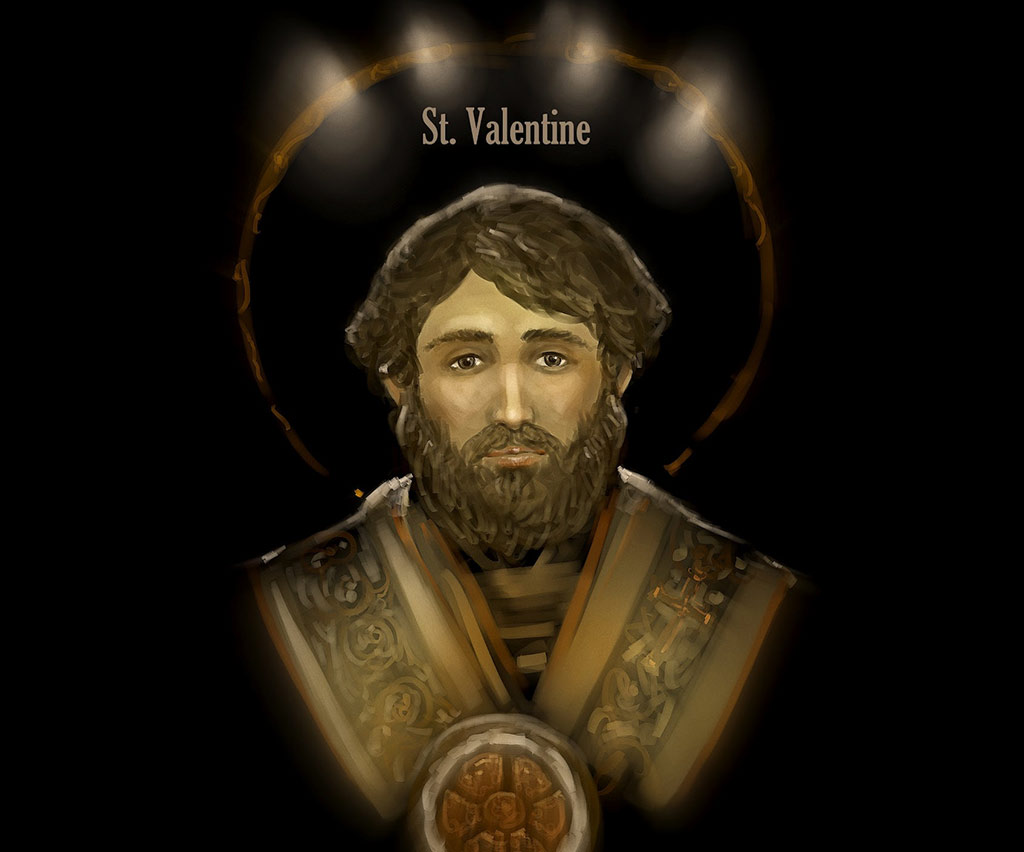 St. Valentine - A Third-century Roman Saint who inspired the marriages of young lovers in Rome